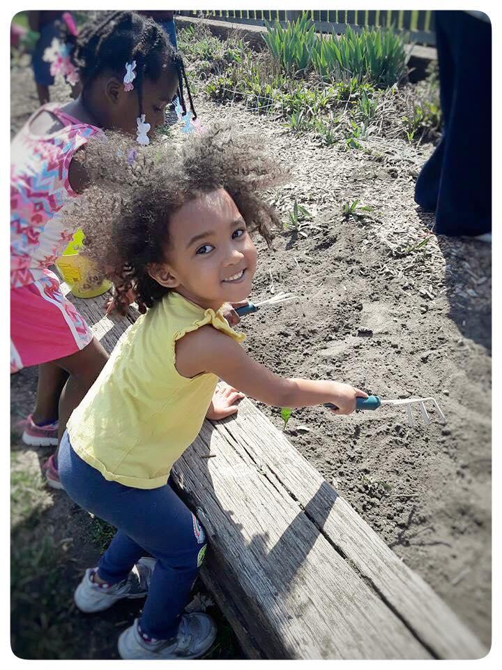Students of our summer program enjoyed tending the school's garden.