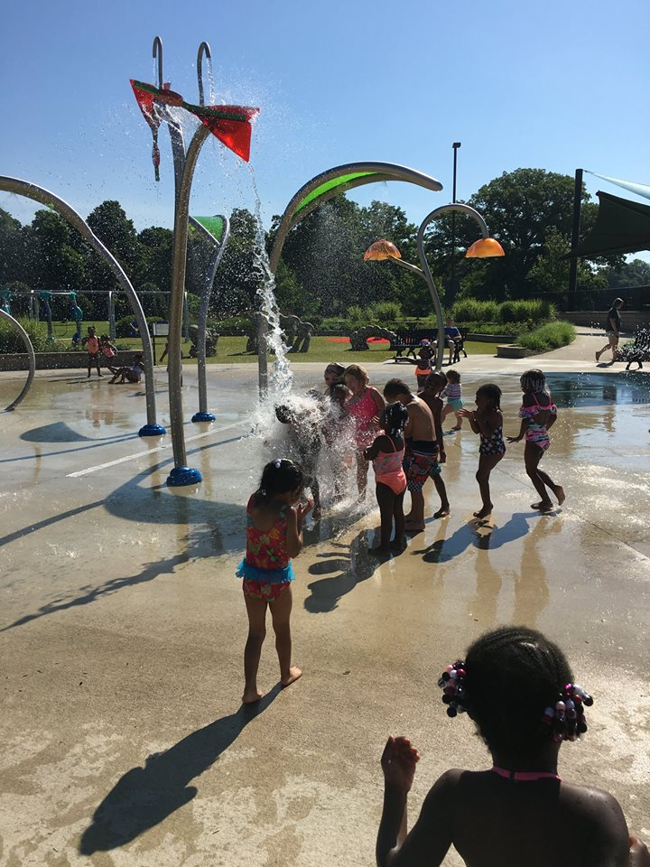 A trip to local splash pads presented students an opportunity to cool off while getting fresh air, exercise, and time for creative free play.