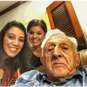 Myself and Christina with Papi a year before he passed, teaching him how to take a selfie!