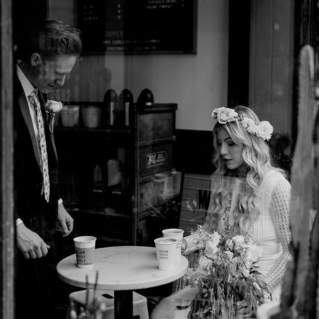 Kayla and Brennan, getting coffee after their vows, because that's what they love to do.