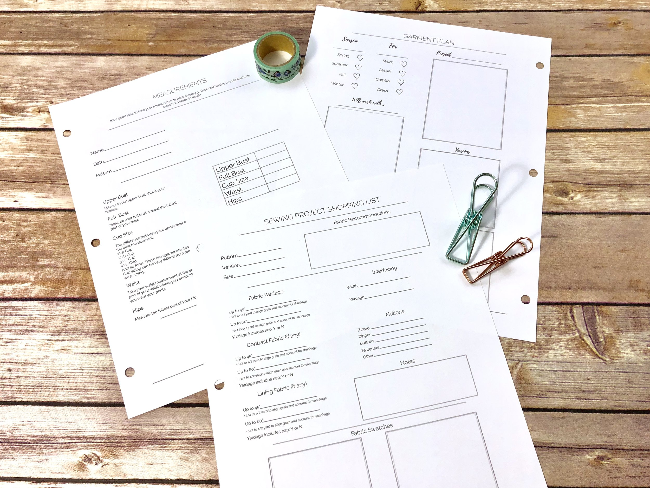 printable sewing project planner
