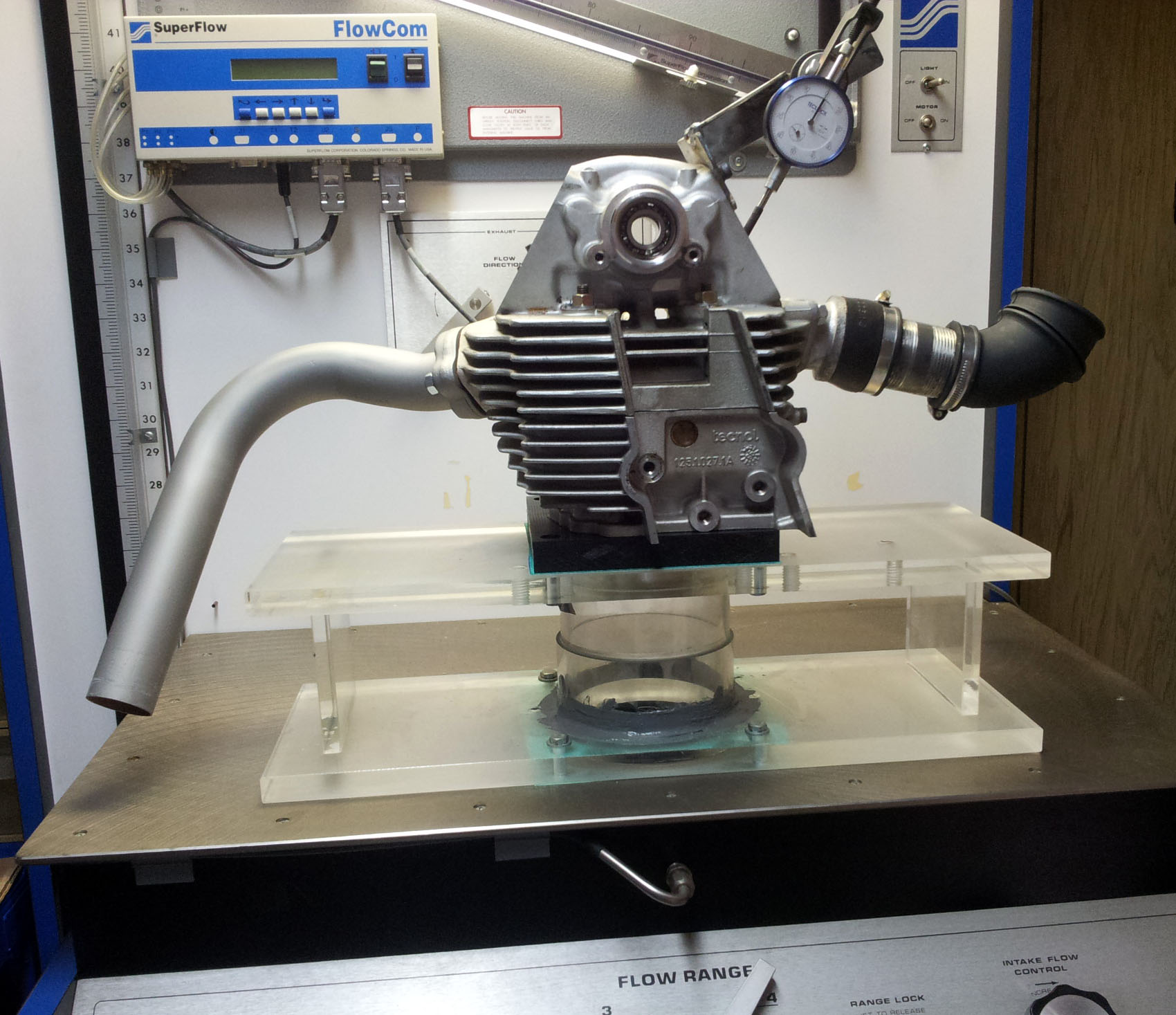 Ducati 900SS Cylinder Head on Flow Bench during Porting