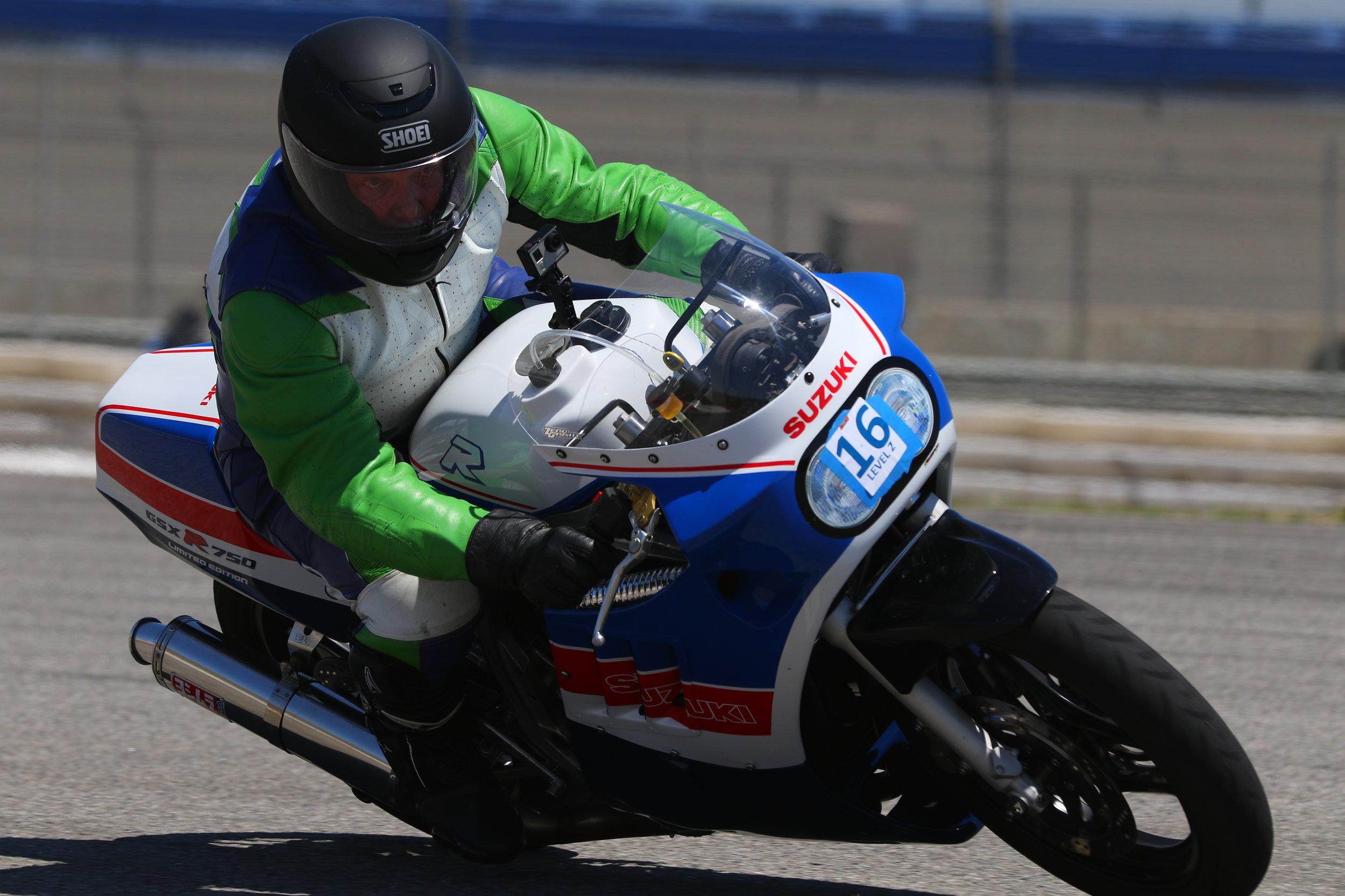 Tate Casey rides the Suzuki GSX-R750 at Auto Club Speedway