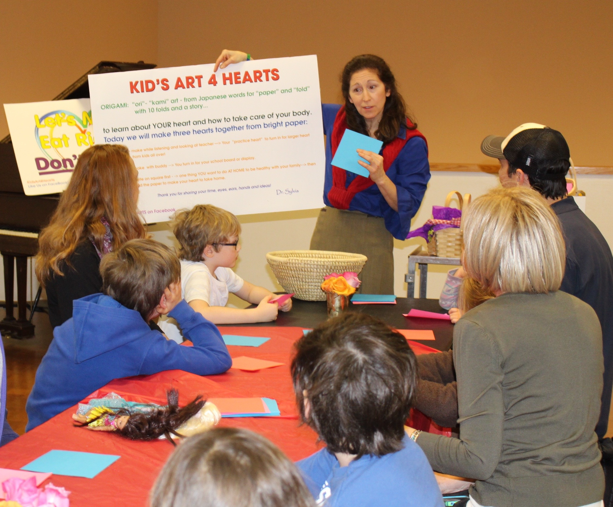 """Dr Cerel-Suhl teaching a family workshop at the University of Kentucky Art Museum, """"Heart and Home""""following a tour of the exhibit """"Open House: works from the Weiland Collection"""" with Director Stuart Horodner.  February 2016"""