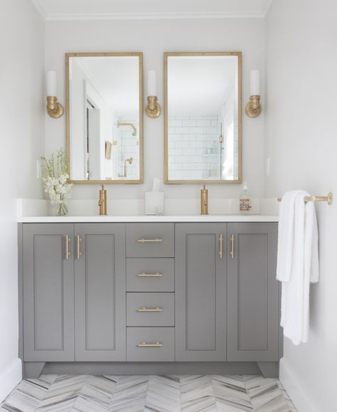 Bathroom Vanity - Don't overlook giving your bathroom a makeover too! This warm gray goes stunningly with the gold decor accents.