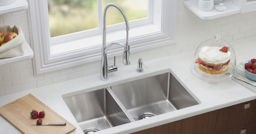 For the most amount of countertop space chose an undermount sink.
