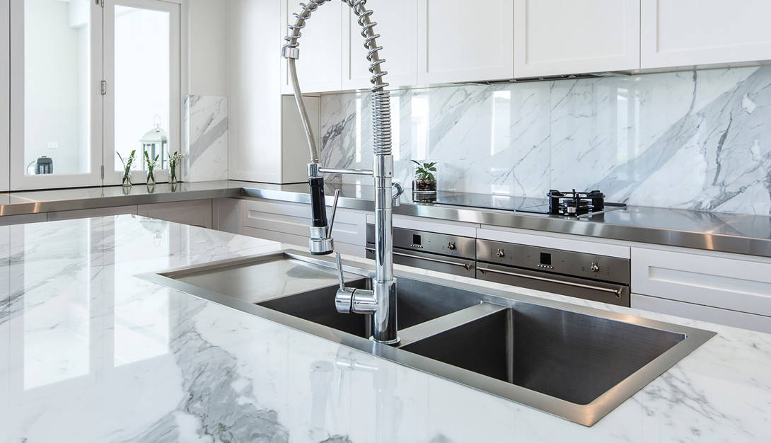 For the easiest sink cleaning, choose a top mounted sink.