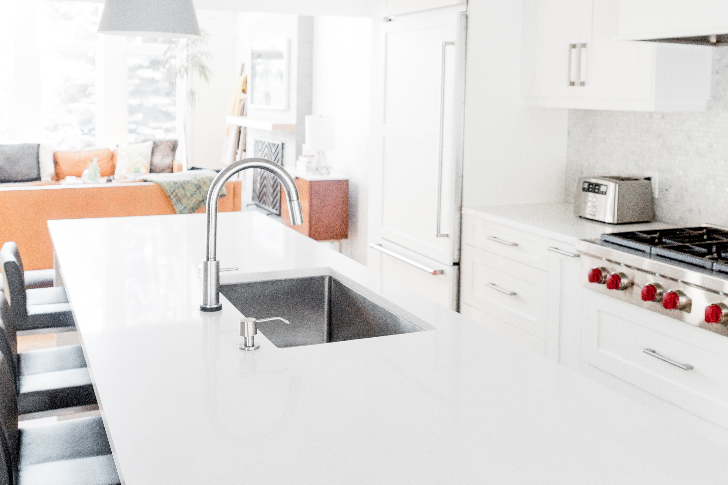 For easy countertop clean up, choose an undermount sink.