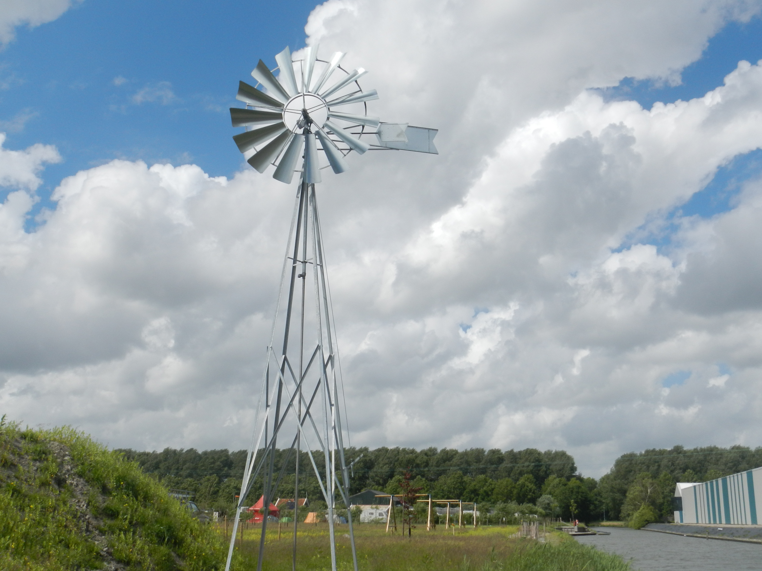 Wind turbine for water pumping.