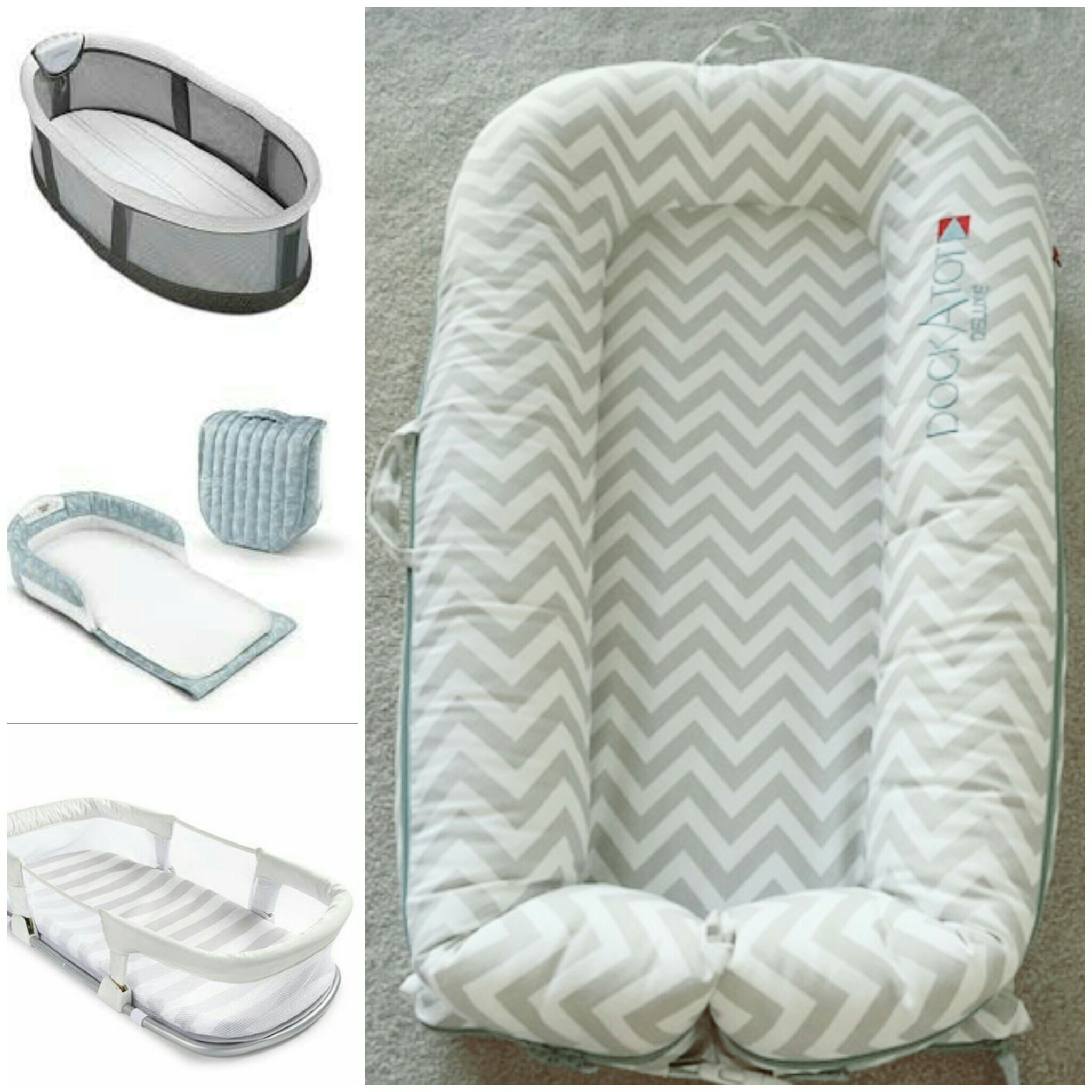 A few examples of co-sleepers you can take in bed with you and your partner. This allows for baby to be close, but also garuntees safety perameters for baby to sleep in.