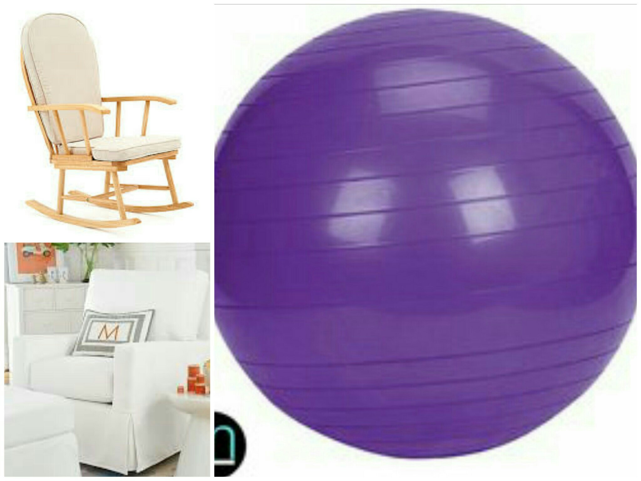 Start with a decent chair, one with motion. A rocking chair or a glider are the common buy these days. They double as support during the feed, and then can facilitate soothing motion to help calm baby. The exercise ball you may have purchased prior to having baby. This encourages great posture, and is a great tool in soothing baby. The ball does all the work for you, rather than having to bounce your tired body.