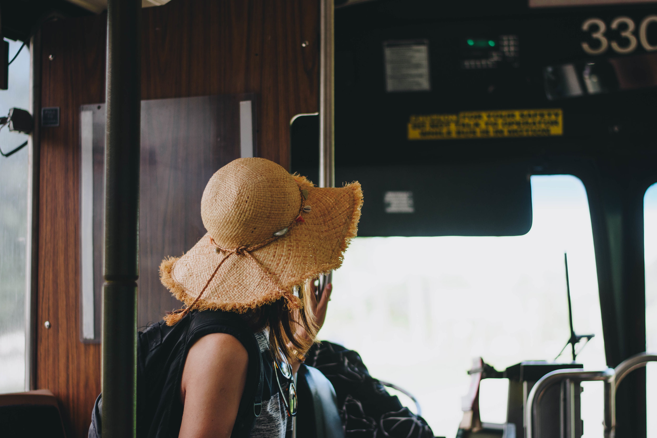 The Straw Hat Lady form Tokyo | A Bus on Oahu, Hawaii | December 13, 2016