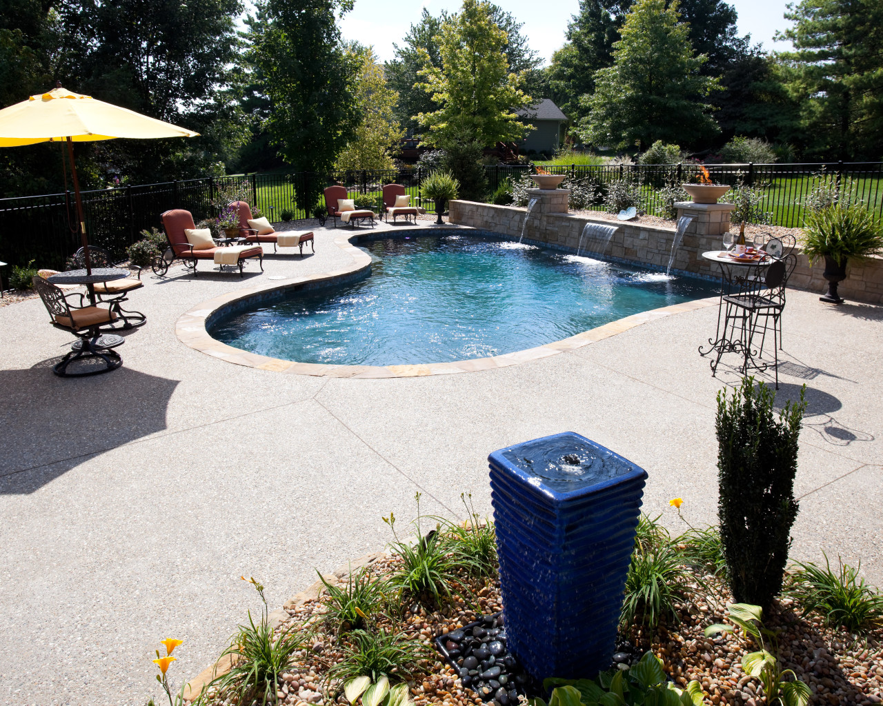 5 - Custom Wall with Built In Water Features