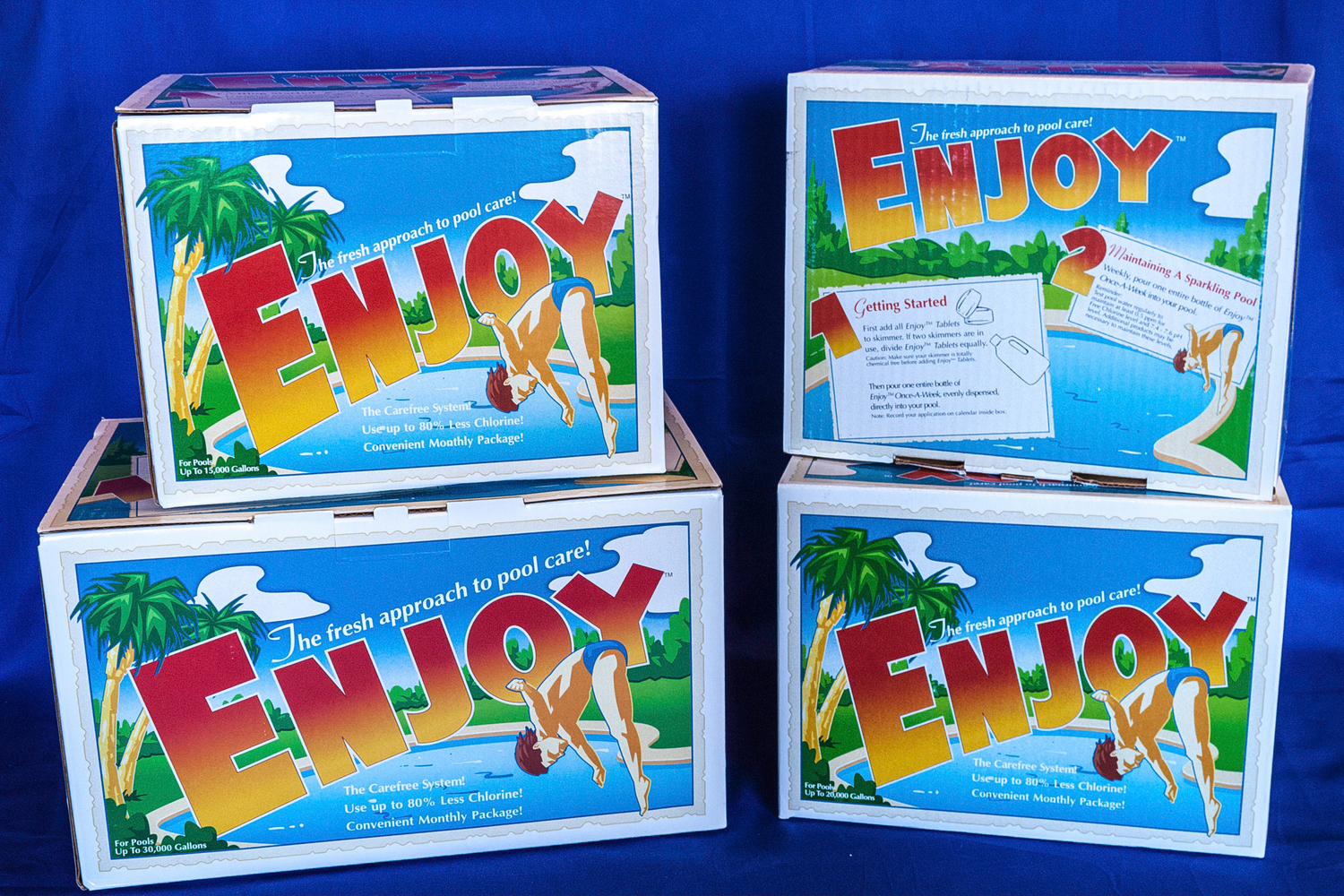 ENJOY! comes in one month supplies kits for 10,000, 15,000, 20,000 & 30,000 gallon pools.
