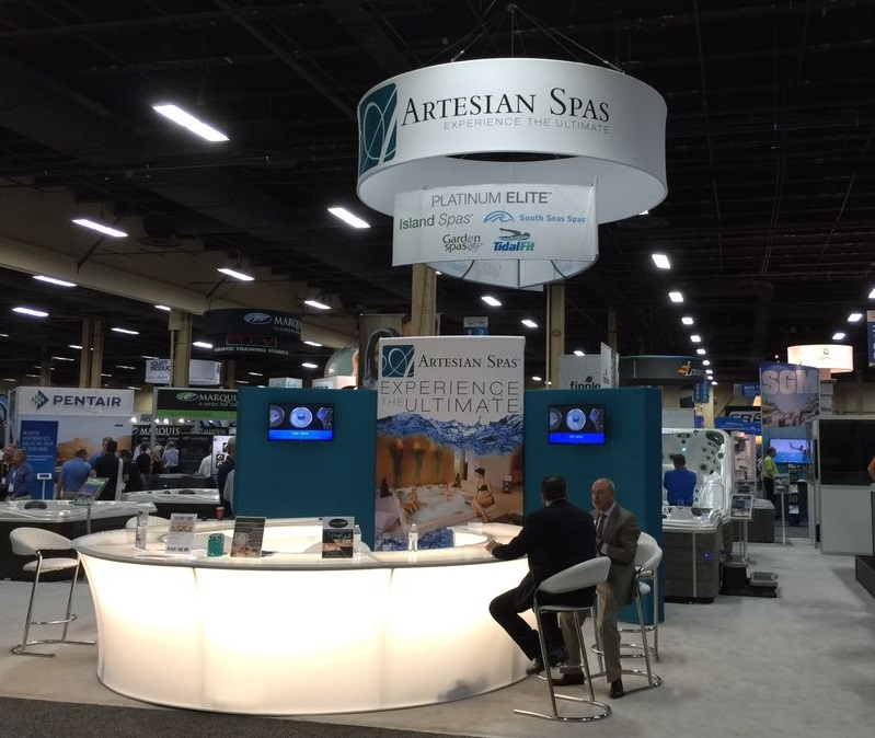 Artesian Spas' Booth at the 2015 International Pool Spa Patio Expo (ABOVE) and the DynaBrite LED lighting on a Grand Cayman Elite (RIGHT)