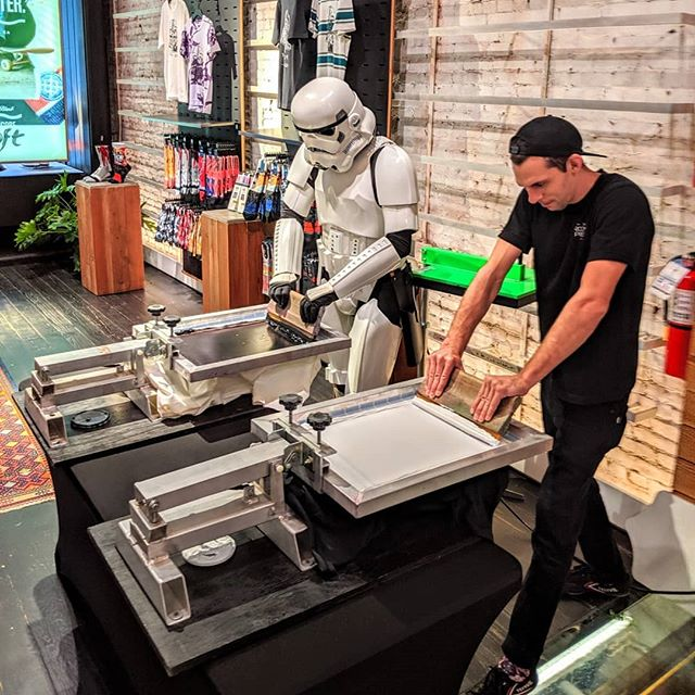 Terrible aim, but great on the press... Let's welcome the newest member of the TBP Live Print team: Tk-421. We had a blast(er) celebrating #forcefriday in partnership with @stancesocks and @starwars with amazing limited edition Vader art by @russpope