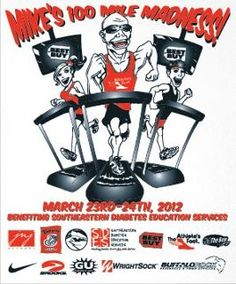 """The image used to advertise the """"Mike's 100 Mile Madness"""" event in 2012."""