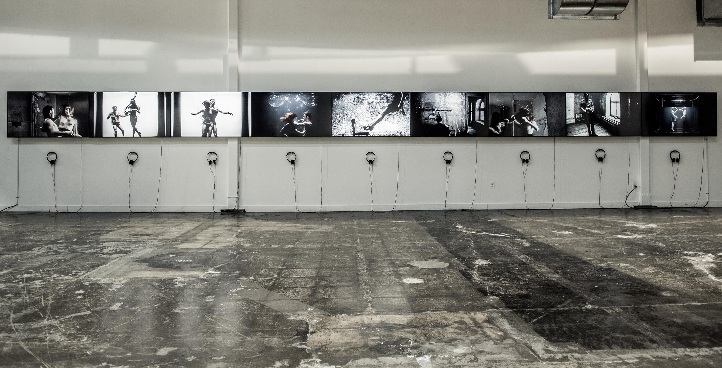 y2o, 2013.  Installation vidéo en neuf mouvements.    x > Vanessa Pilon y > Jacques Poulin-Denis