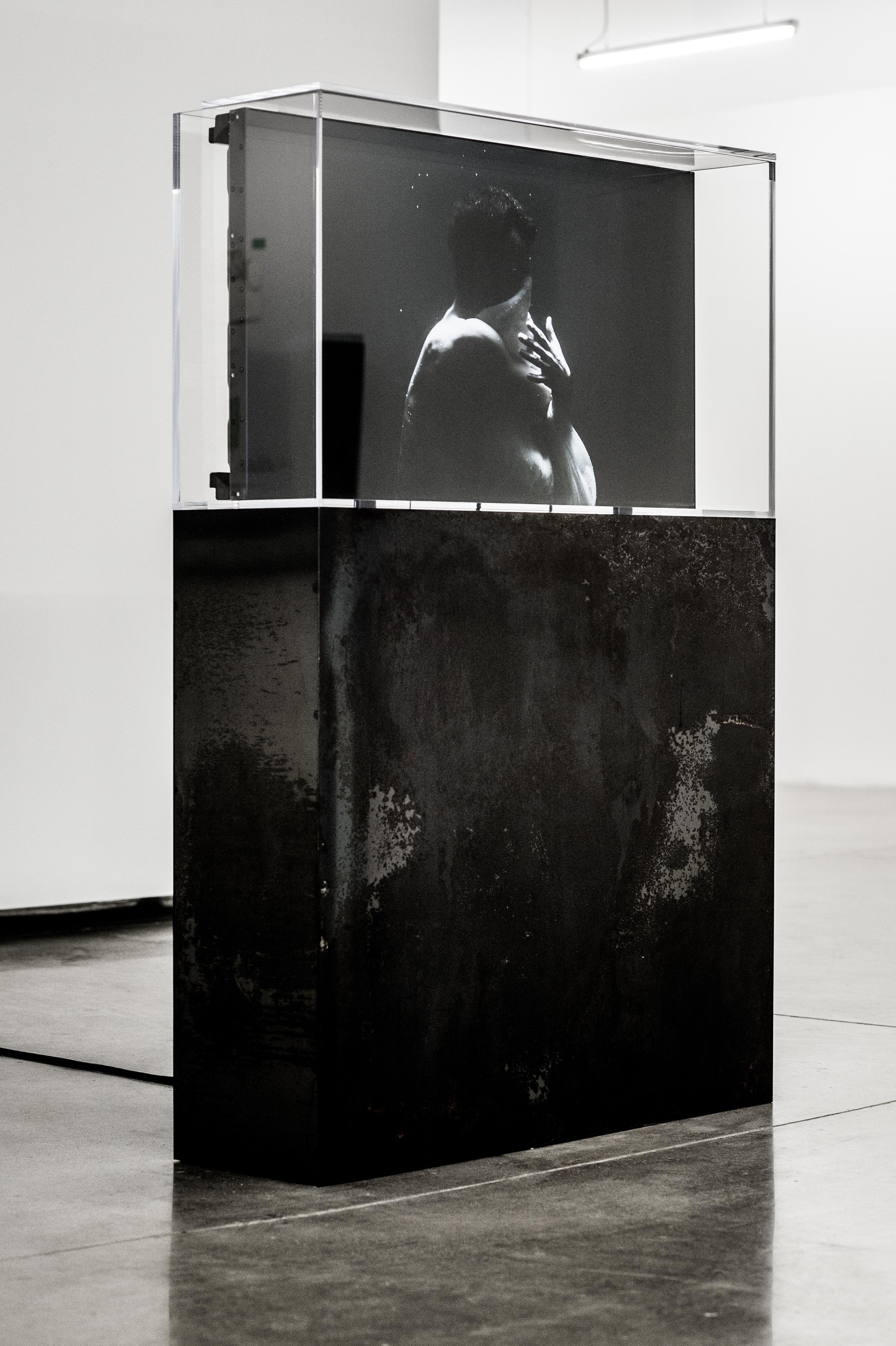 "y2o Huis clos,  2015.   Installation vidéo avec acier, acrylique, ordinateur et moniteur Video installation with steel, acrylic, computer and screen   162.5 x 106.7 x 32.4 cm (64"" x 42 ½"" x 12 ¾"")   2h 53 min 18 sec.   Edition 1/2   Collection Majudia"