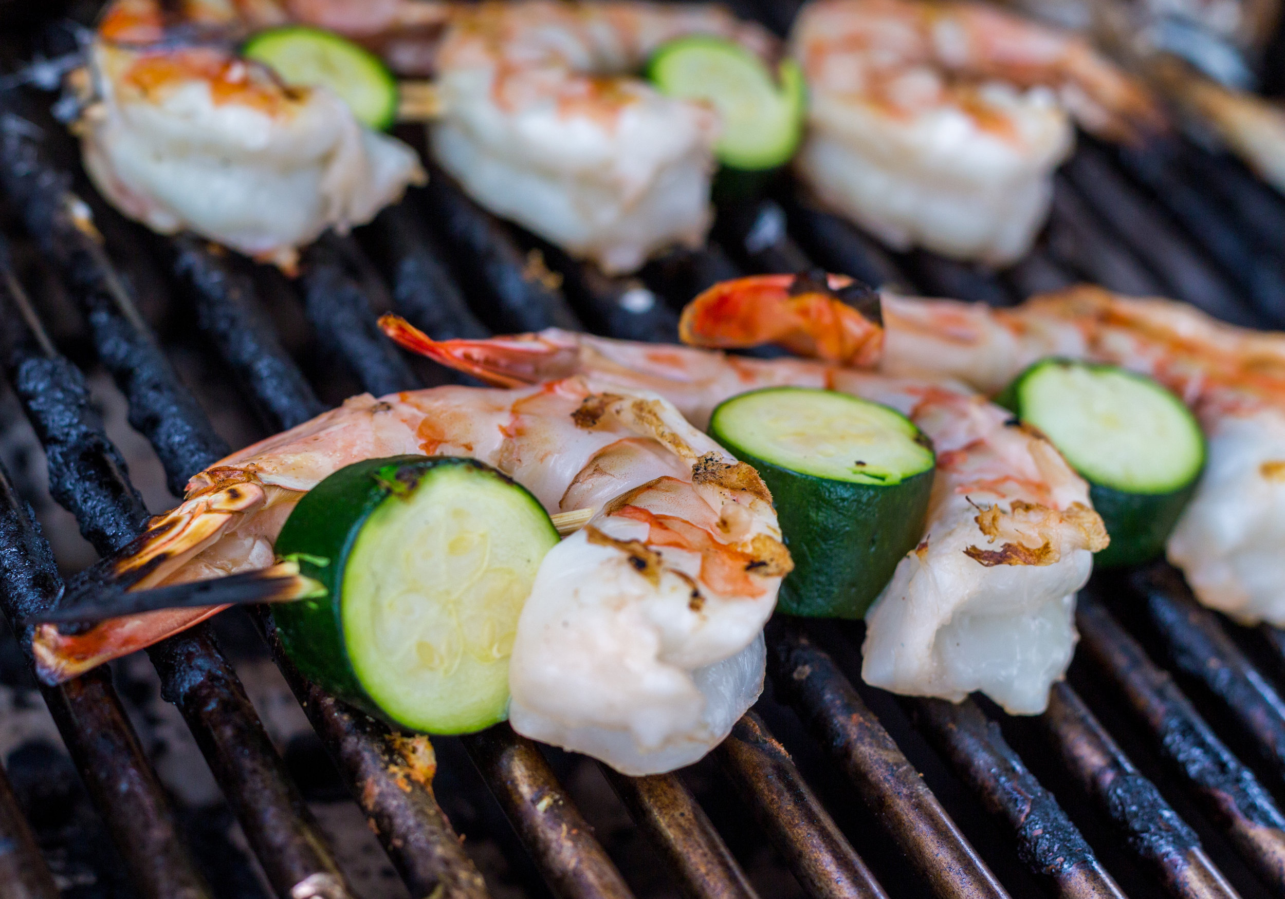 Jumbo shrimp and zucchini kebabs grilled on Remember When's sundeck.
