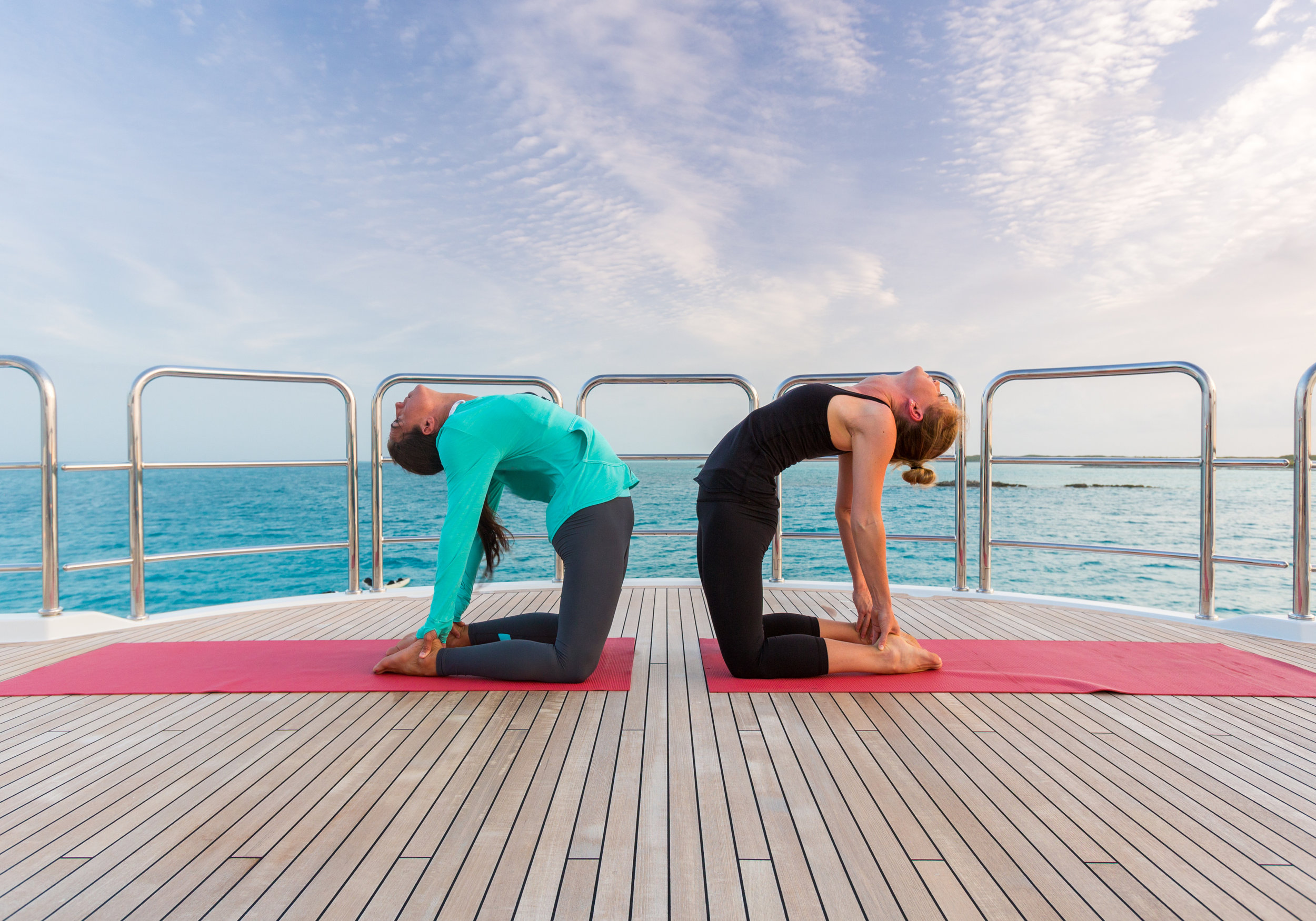 Take relaxing yoga class on the sundeck