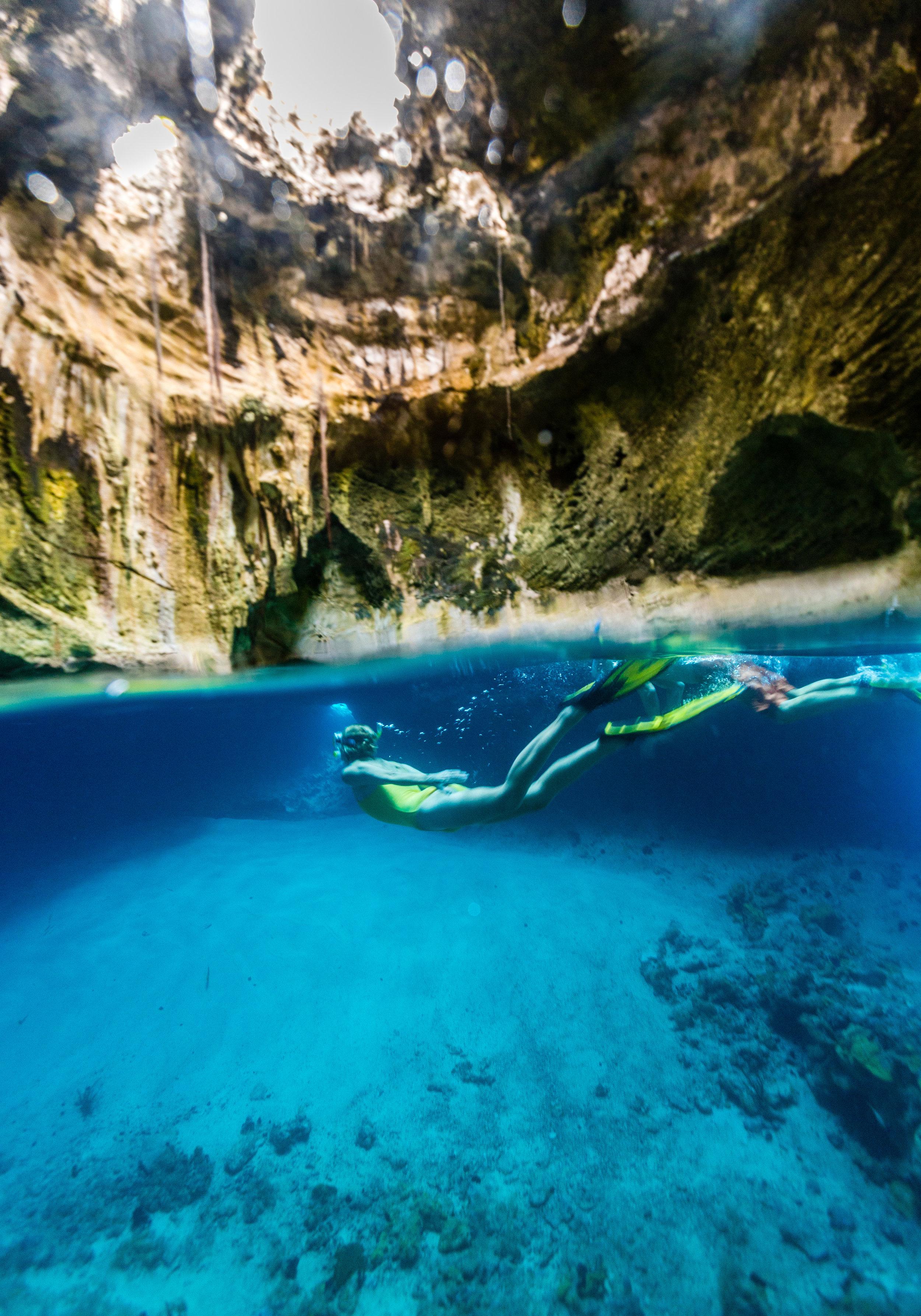 Thunderball Grotto in the Exumas, Bahamas is stunningly beautiful