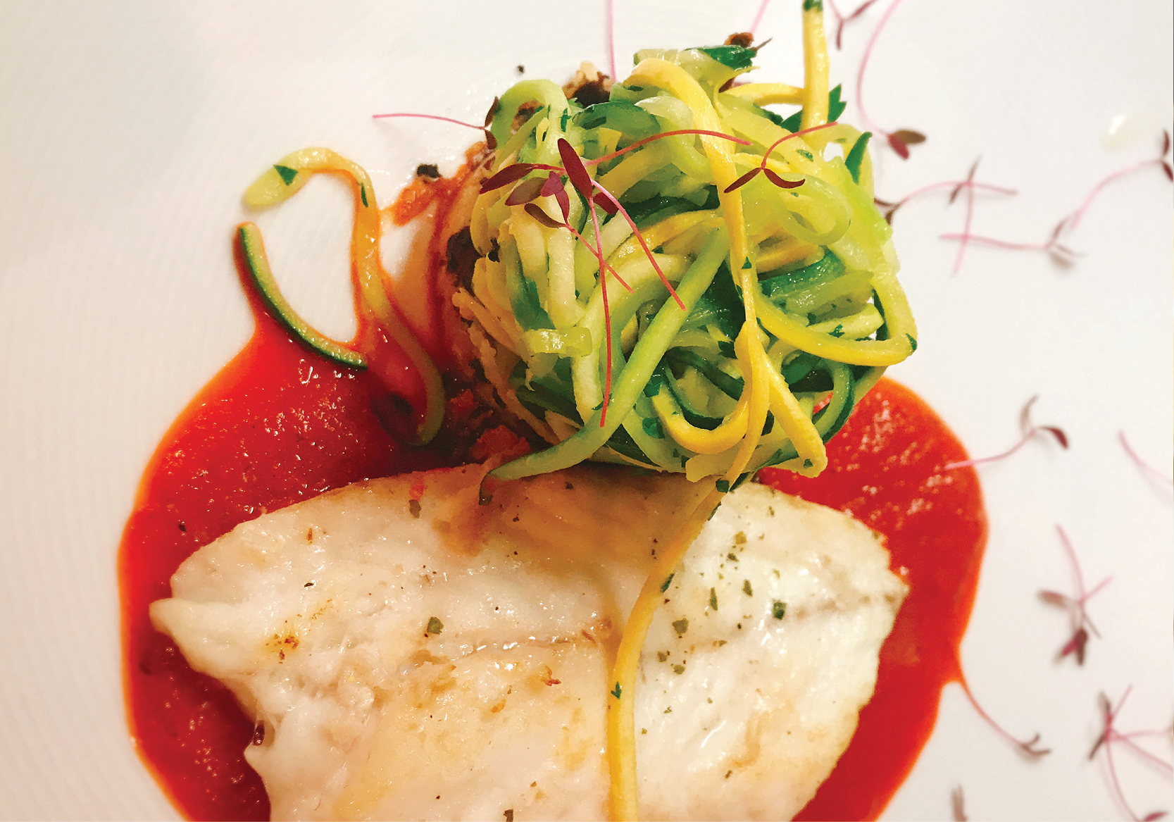 Fresh Caught Silky Snapper with Zoodles (Zucchini Noodles) and Roasted Tomato and Capsicum Sauce
