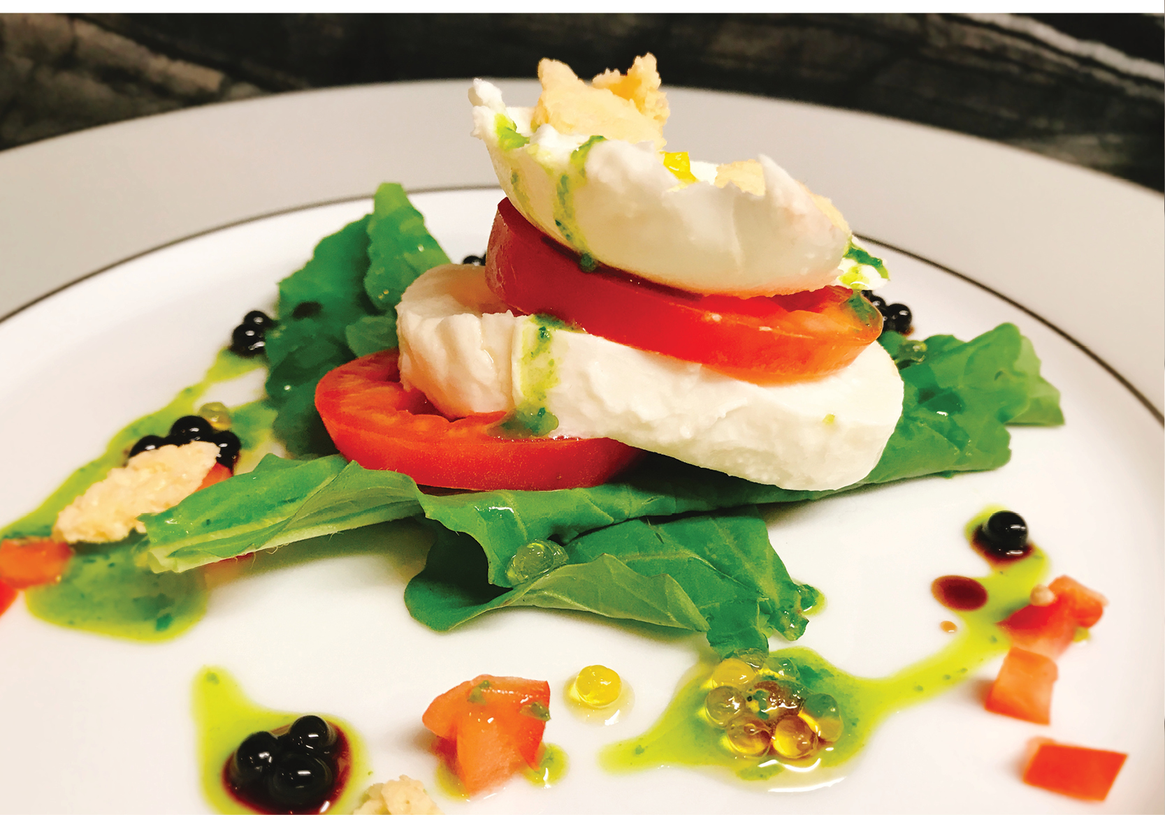 Caprese Salad - Mozzarella, Wild Rocket, Roma Tomatos and Balsamic and Olive Oil Pearls