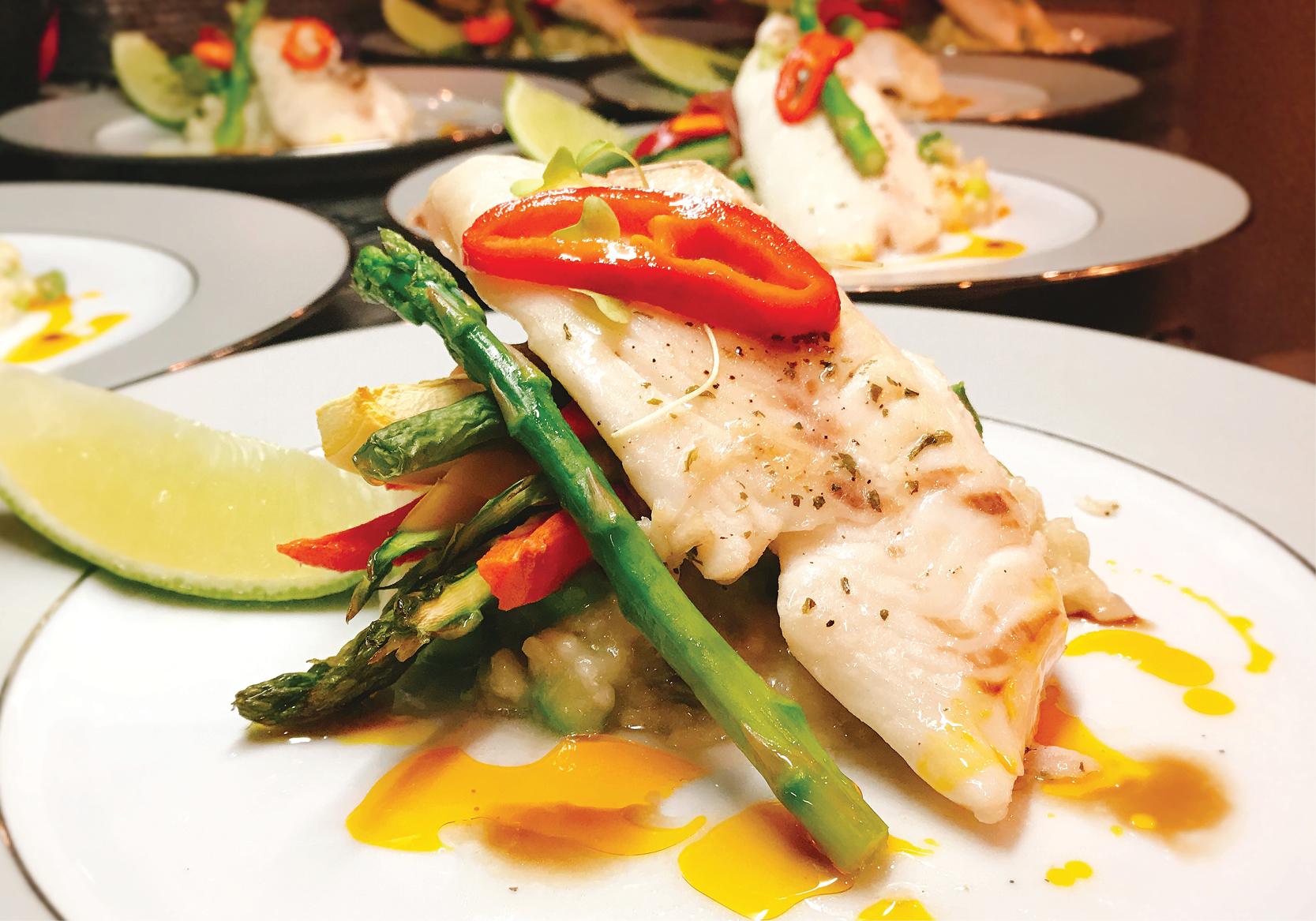 Fillet of Queen Snapper With Asparagus and Thyme Risotto