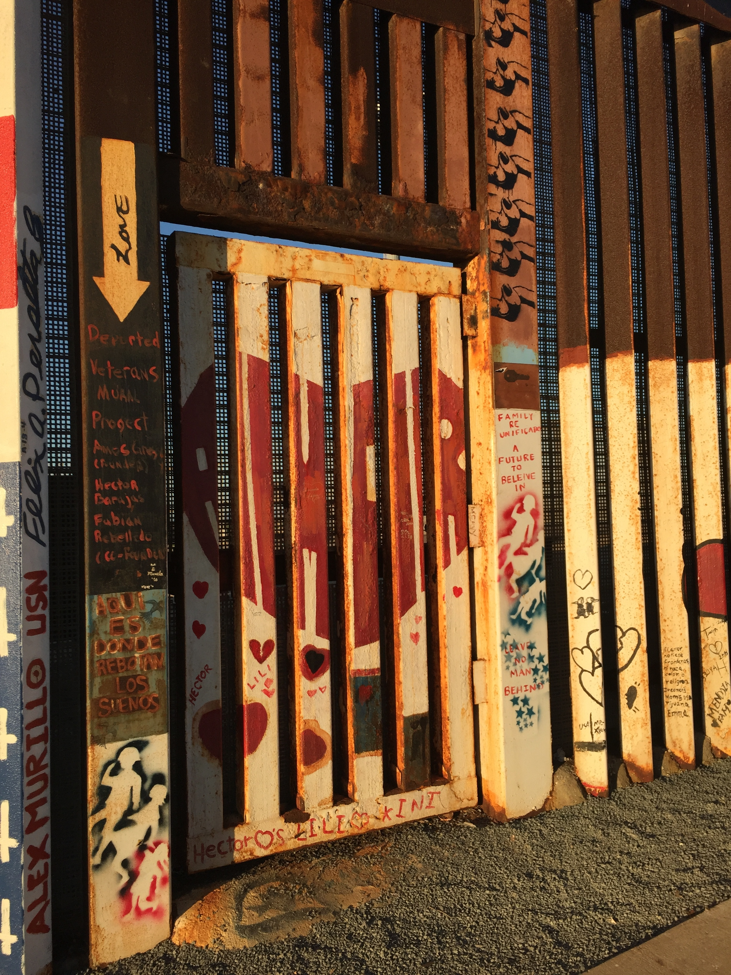 Image of door from Mexican side of border wall with US. Photo credit: Abraham A. Joven, Nov. 2016