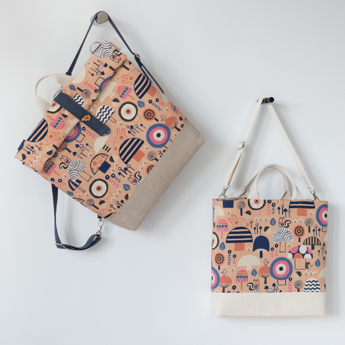 Roll-top rucksack and tote for the two best kids to make stuff for