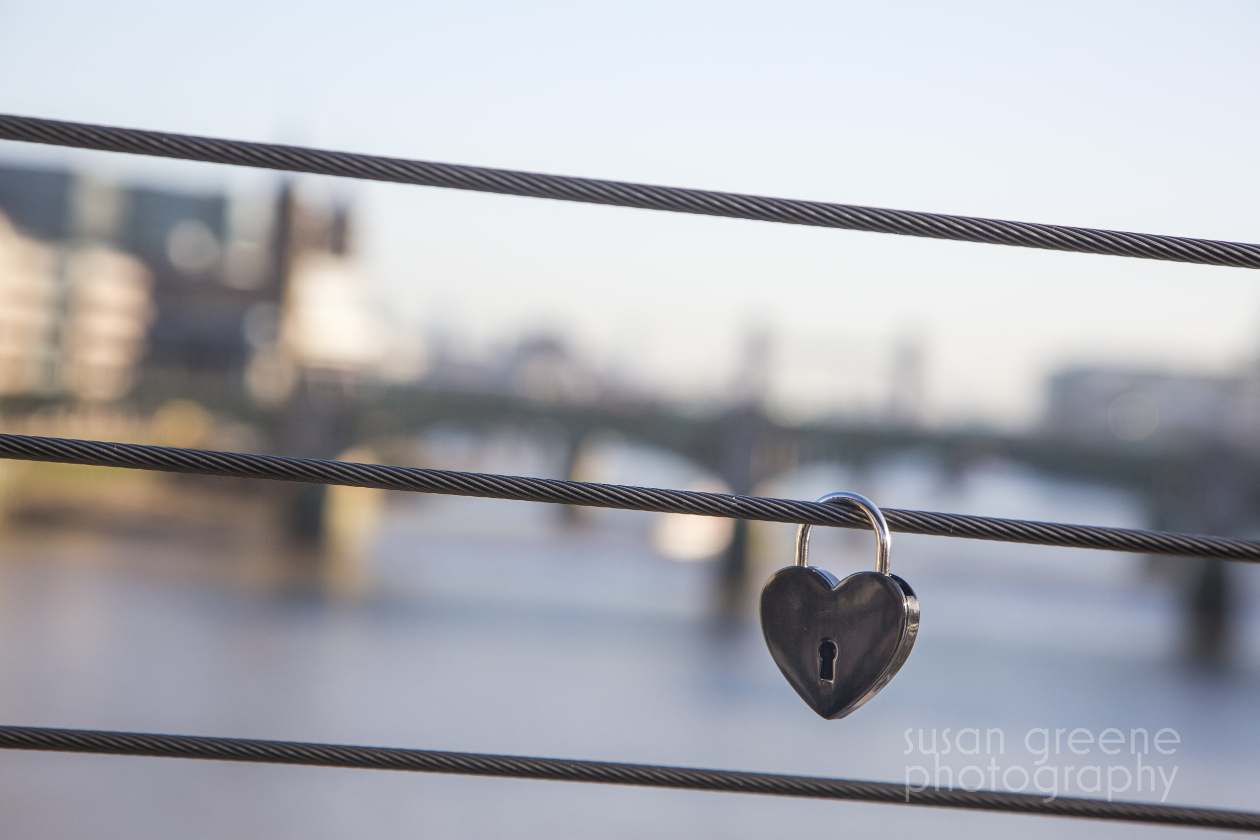 Love lock on London's Millennium Footbridge