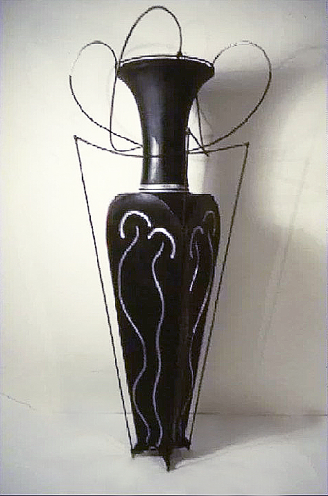 Large Floor Vase and Steel Wire, 5 Foot Tall