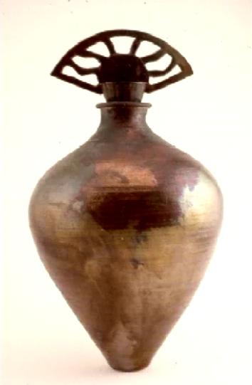 "Raku Vase / Bottle, 22"" High x 11"" Round"