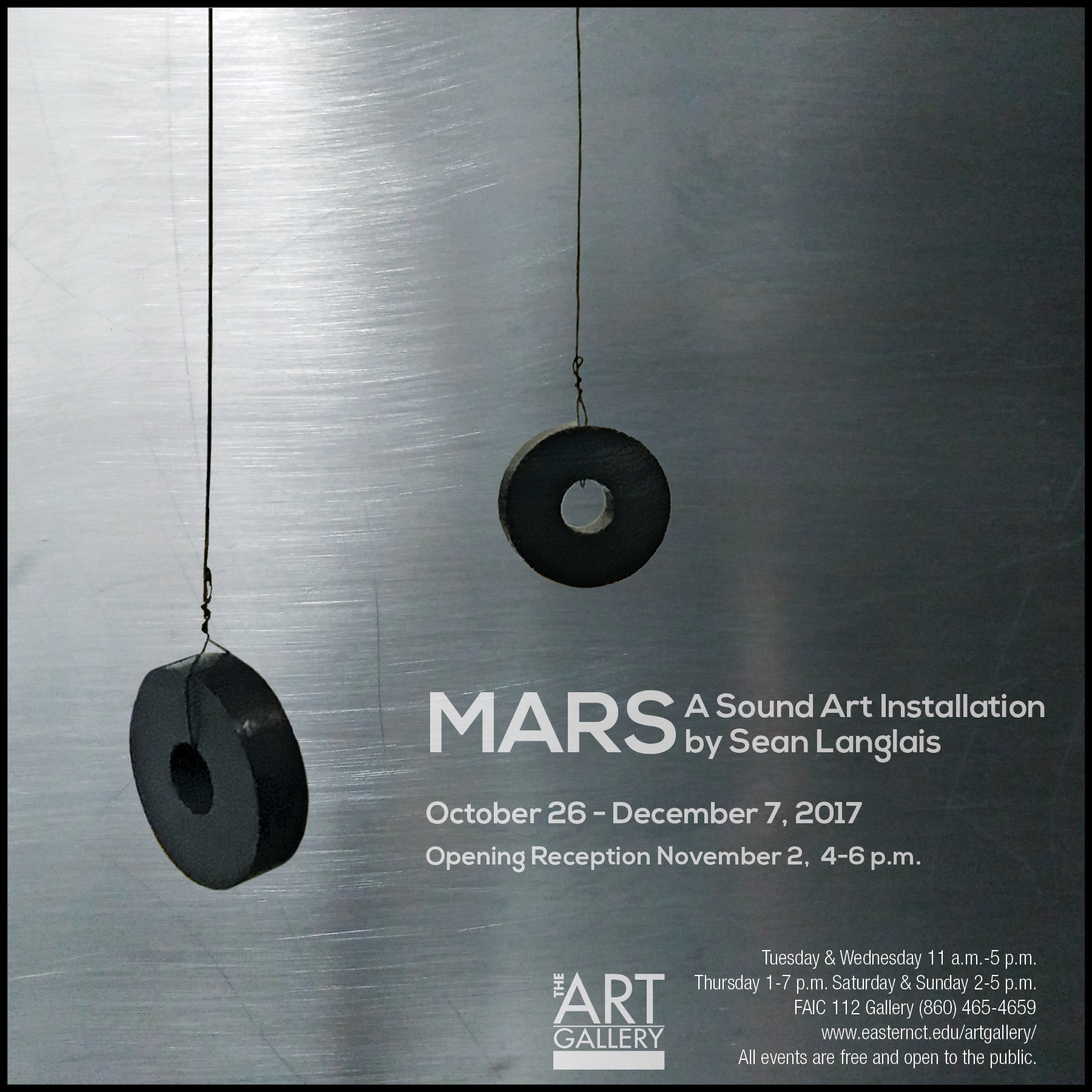 """Written by Casey Collins   While no """"little green Martians"""" in flying saucers will be on display, guests are still in for a surprise when Eastern Connecticut State University hosts contemporary artist Sean Langlais' exhibition, """"Mars: A Sound Art Installation."""" Showing from Oct. 26 to Dec.7 in the Art Gallery of the Fine Arts Instructional Center (FAIC), """"Mars"""" will be the first exhibition of its kind on Eastern's campus. An opening reception will occur Nov. 2 from 4-6 p.m."""