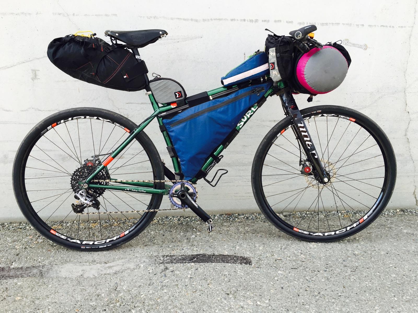Fully packed bike.