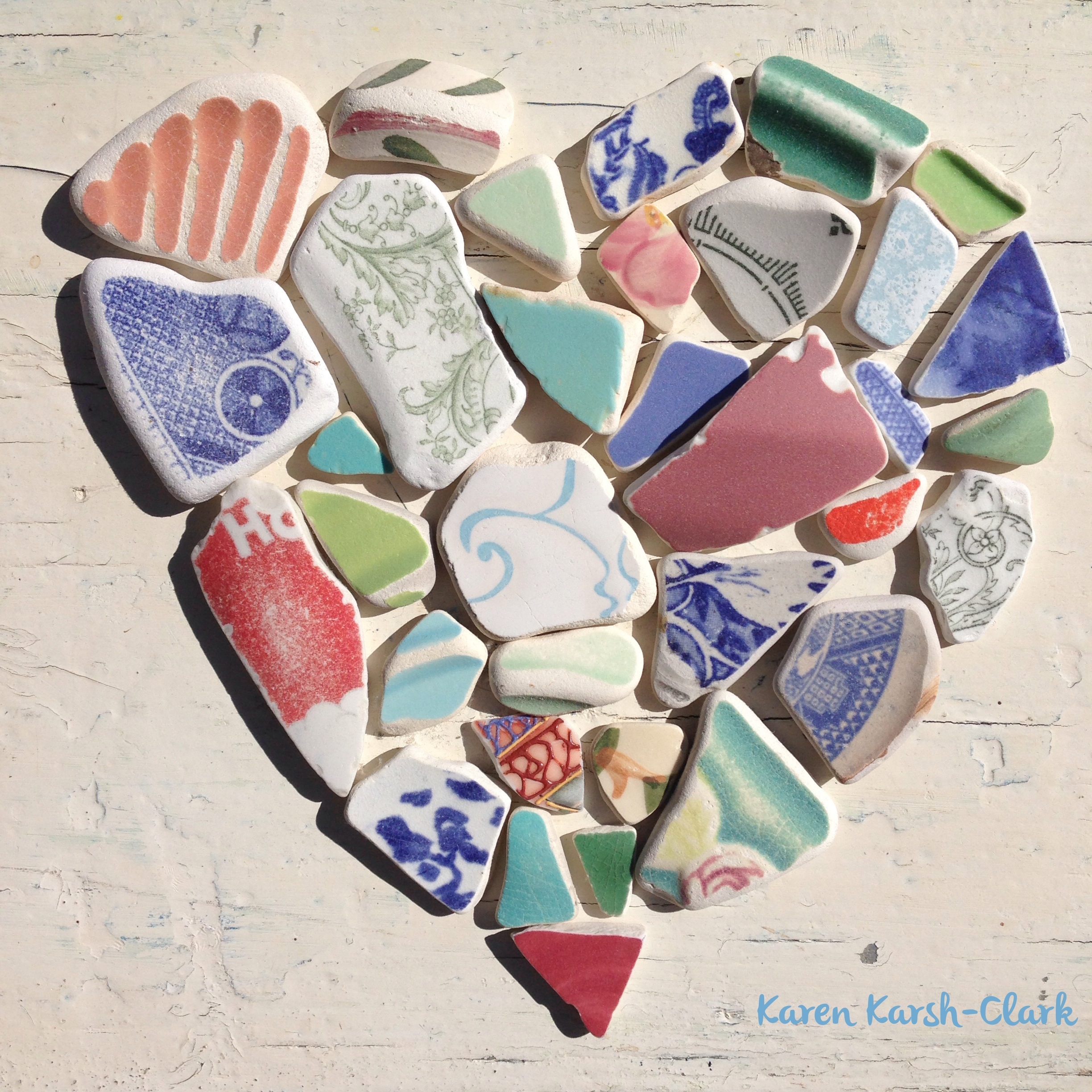 Sea Pottery Heart by Karen Clark