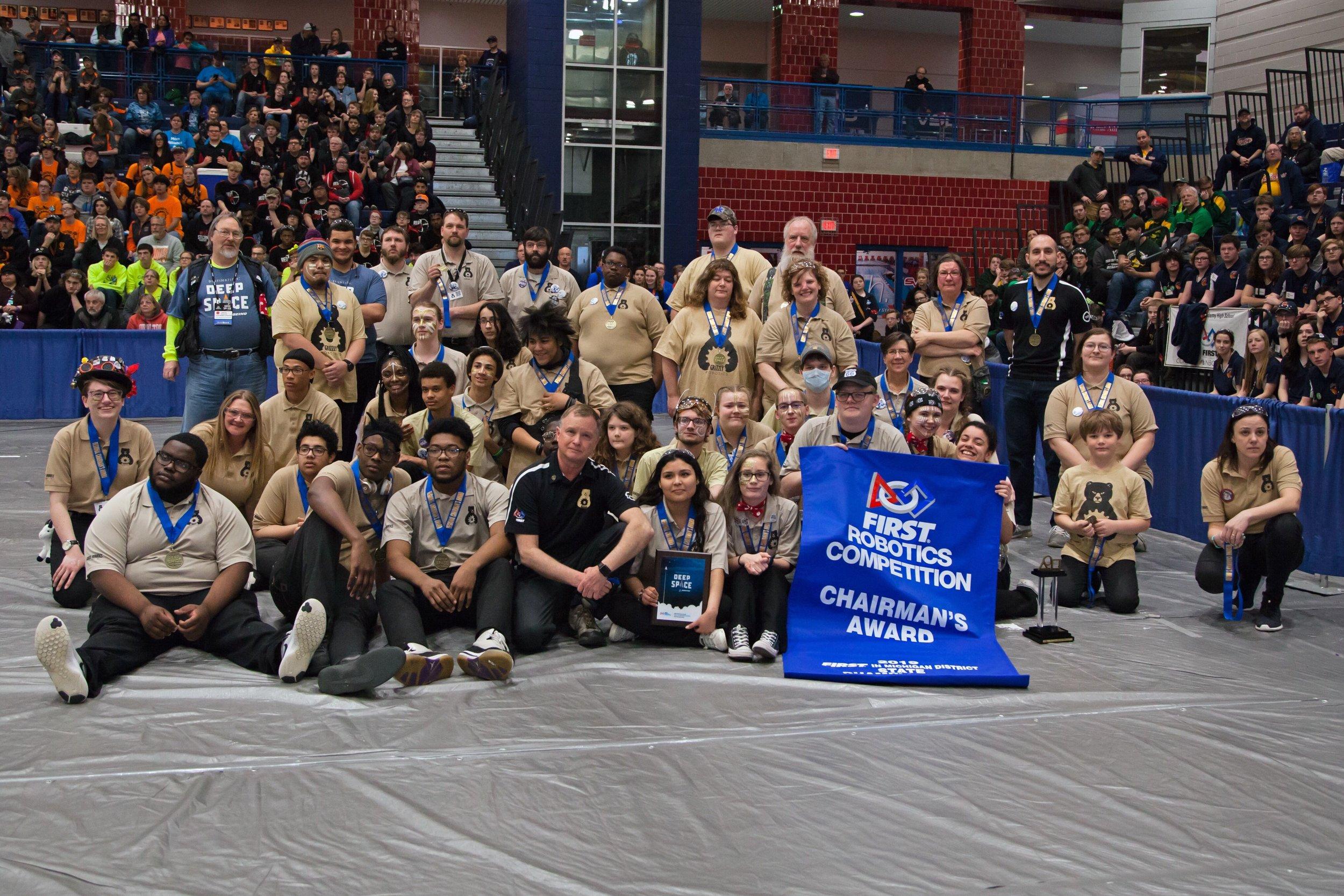 Grizzly Robotics Win the 2019 Michigan State Championship Chairman's Award
