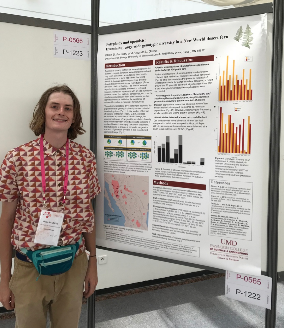 Blake Fauskee, UMD Biology '19 presenting his UROP findings, Evolution 2018.