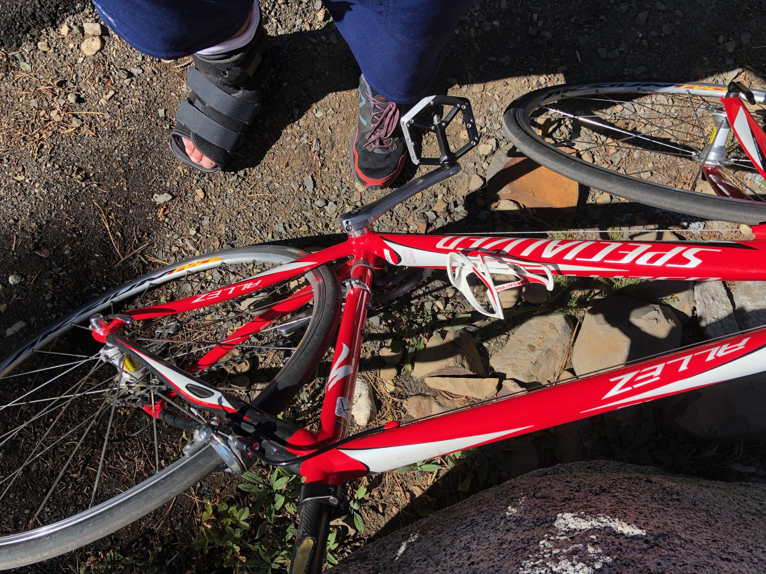 Getting ready for my first ride on a road bike, a 16-mile spin around McCall, Idaho.