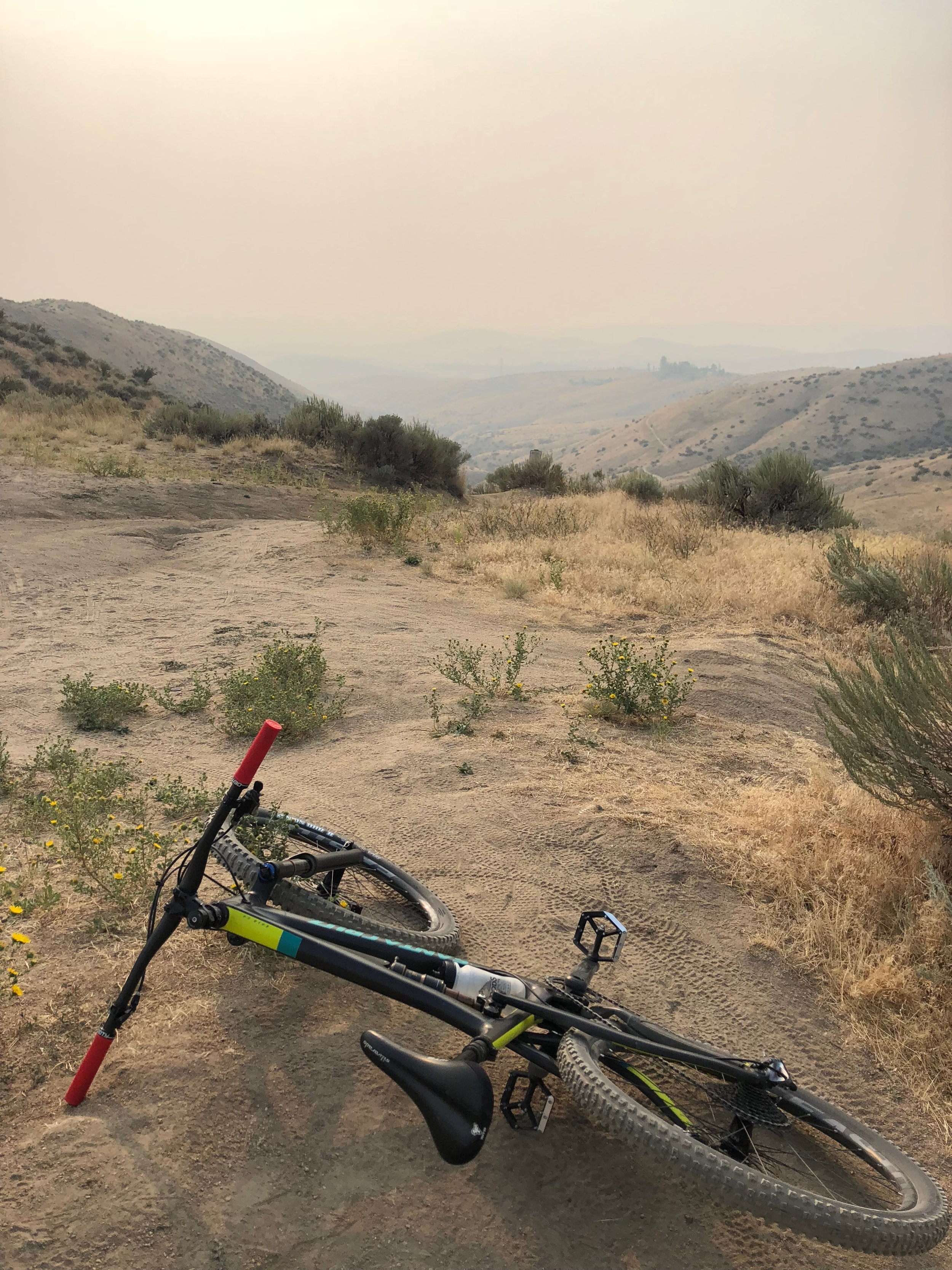 The air from west-coast wildfires was nasty, but August 23 was my first day back on a mountain bike using flat pedals and my walking boot.