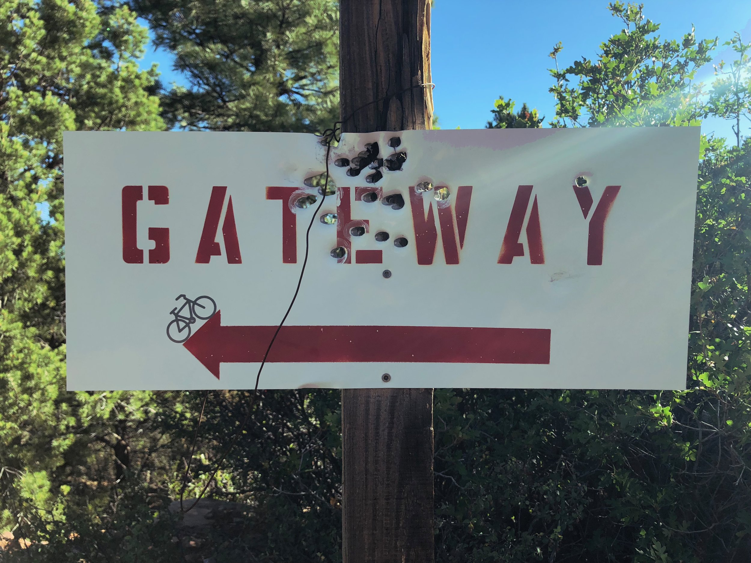The climb out of Gateway into the La Sal Mountains is STEEP. This sign points back the way you came.
