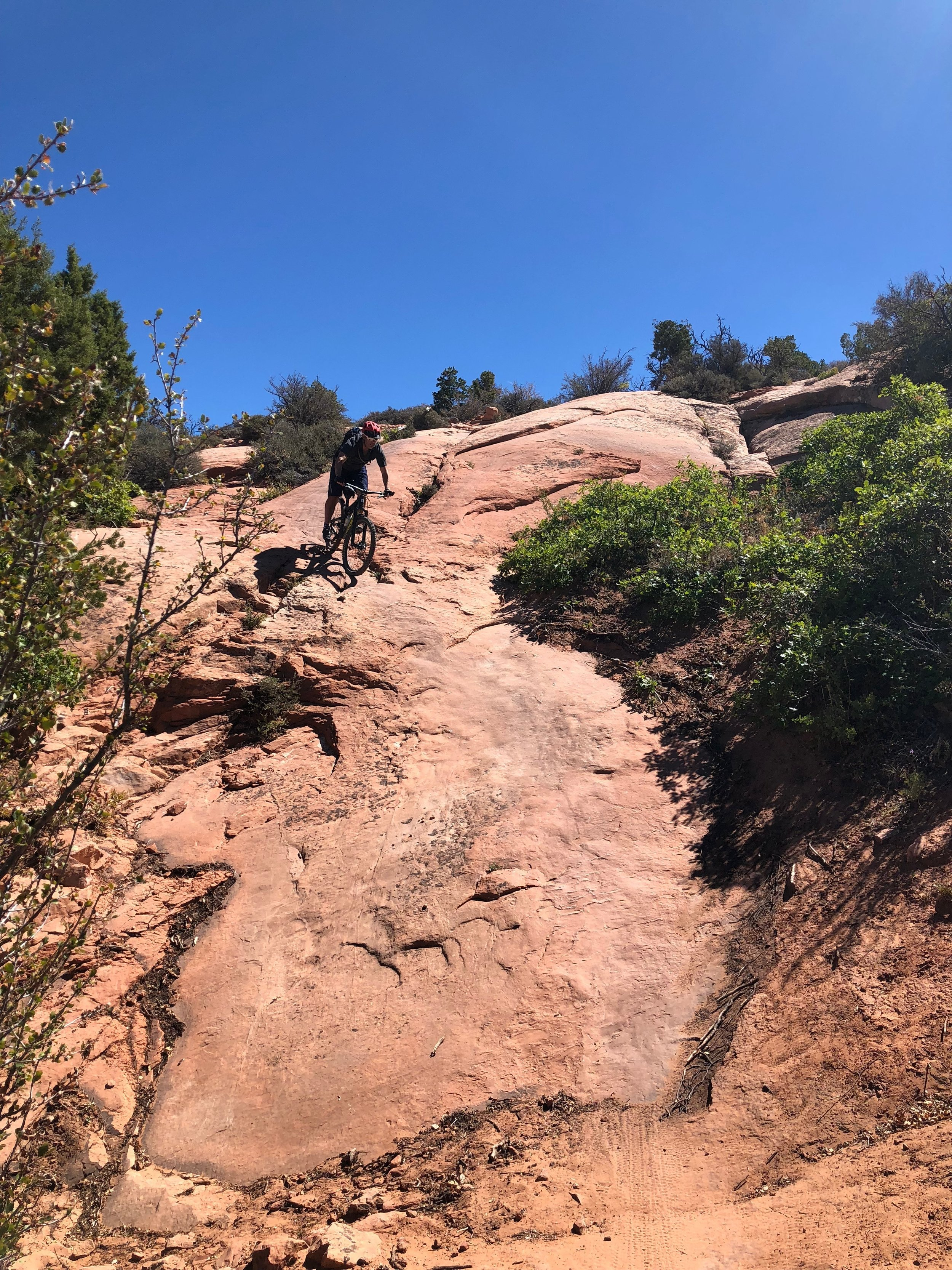 The final descent into Moab follows Porcupine Rim, a fun, technical trail with a bit of exposure in places.