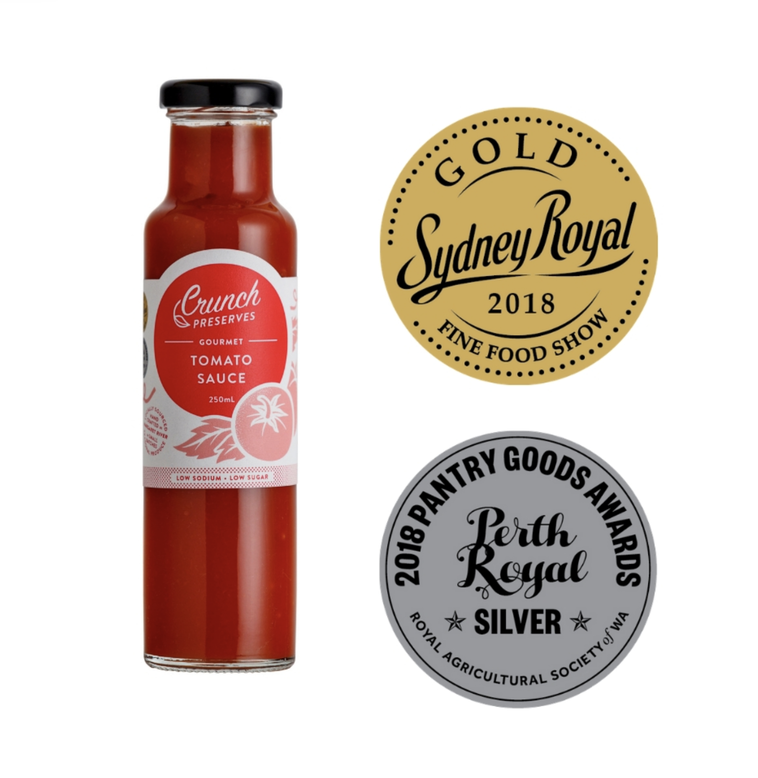 Crunch Preserves Our gourmet low sugar, low sodium tomato sauce received gold at the Sydney Fine Food Show and Silver at the Perth Royal Show.