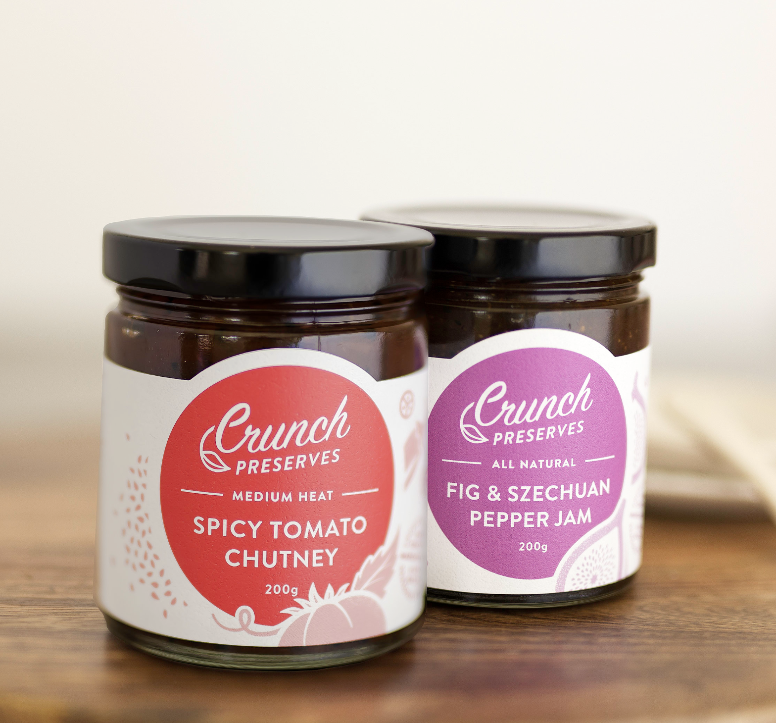 Crunch Preserves We have 2 exciting new products to tell you about. Fig & Szechuan Pepper Jam and Spicy Tomato Chutney.