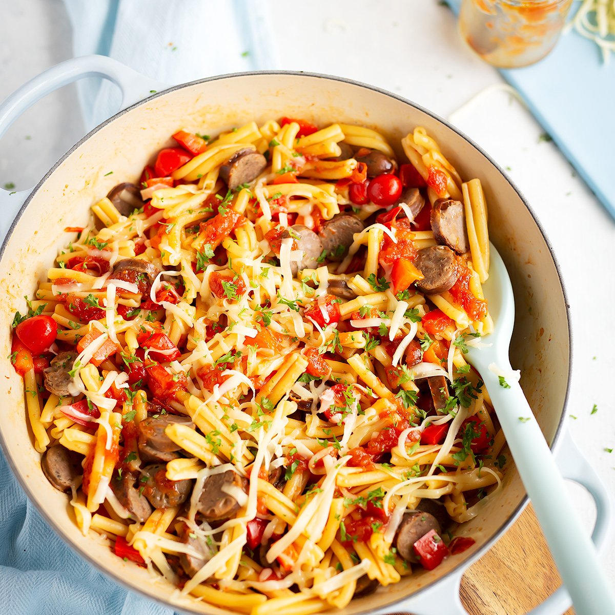 Crunch Preserves Leftover Sausage Pasta with Tomato Relish. The perfect leftover sausage recipe with simple ingredients, all made in one pot and ready in less than 20 minutes!