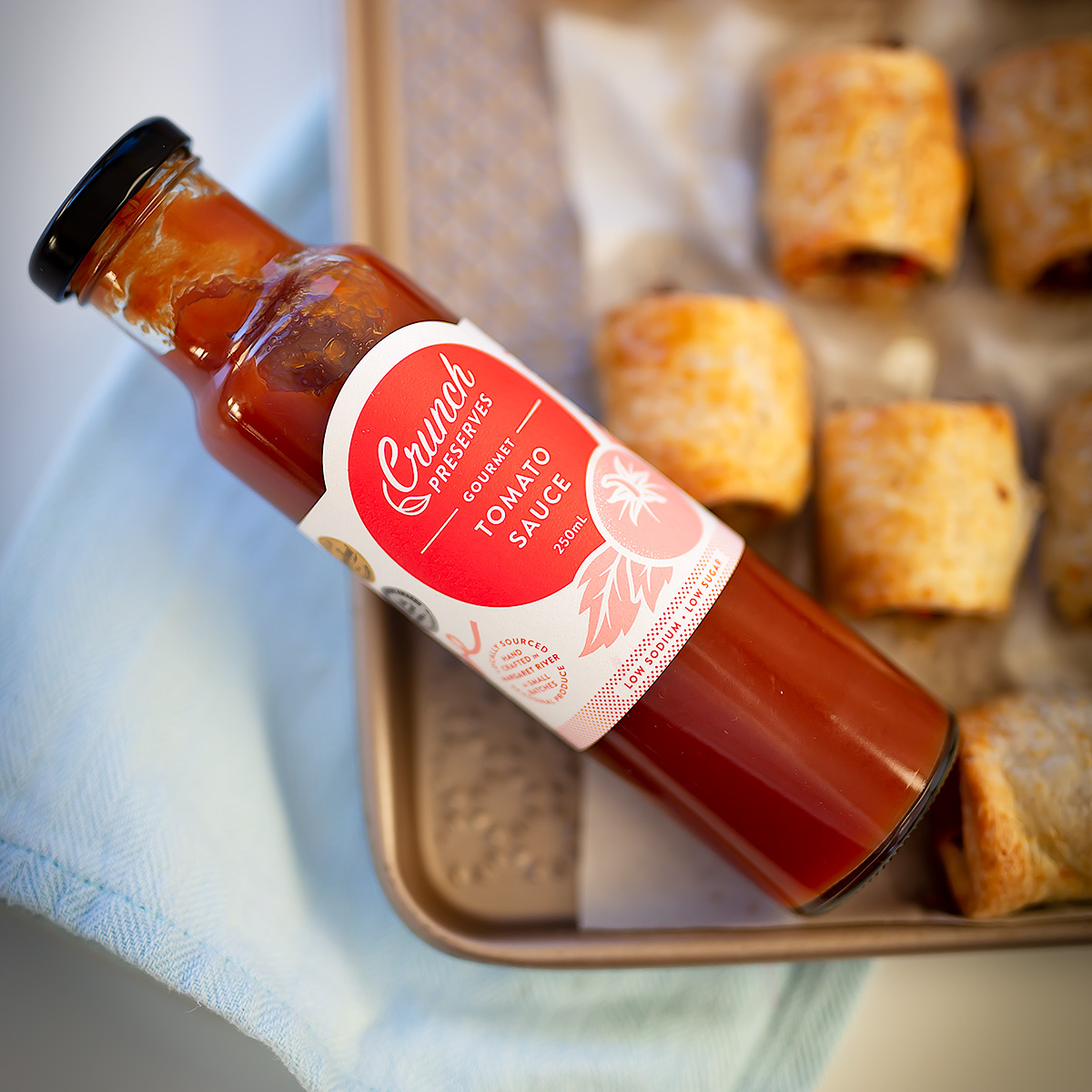 Crunch Preserves Healthy Sausage Rolls & Sauce recipe