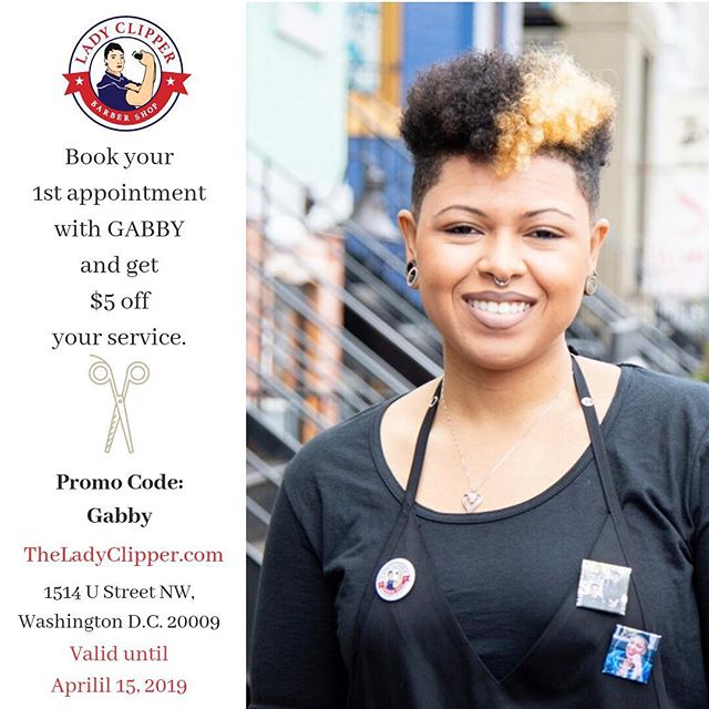 We would like to welcome our newest member ⚠️Gabby - @g.razzor ⚠️ to the Lady Clipper's Family! Use Code: Gabby to book her on your visit and receive $5 off. (Thus/Fri/Sat)⠀ .⠀ .⠀ #shave #LadyClipper #beard #newbarber #barbers #fade #barbeariadomvalentino #barbershop #barbershopconnect #dmvbarber #barbering #barbeirosbrasil #ipiranga #barberlifestyle #menstyle #haircut #barba #fadehaircut #barberconnect #hairstyle #beardstyle #barberlife #barbearia #barberstyle #menshair #barbeiro #barberlove #femalebarber #barbergang  #thebarberpost