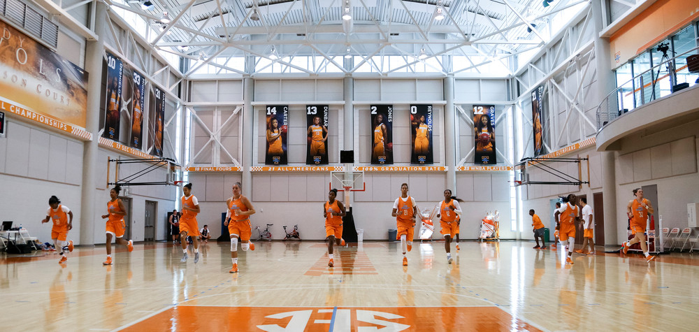 Pratt Pavilion houses two full-sized basketball courts and much more. Image credit: UT Sports