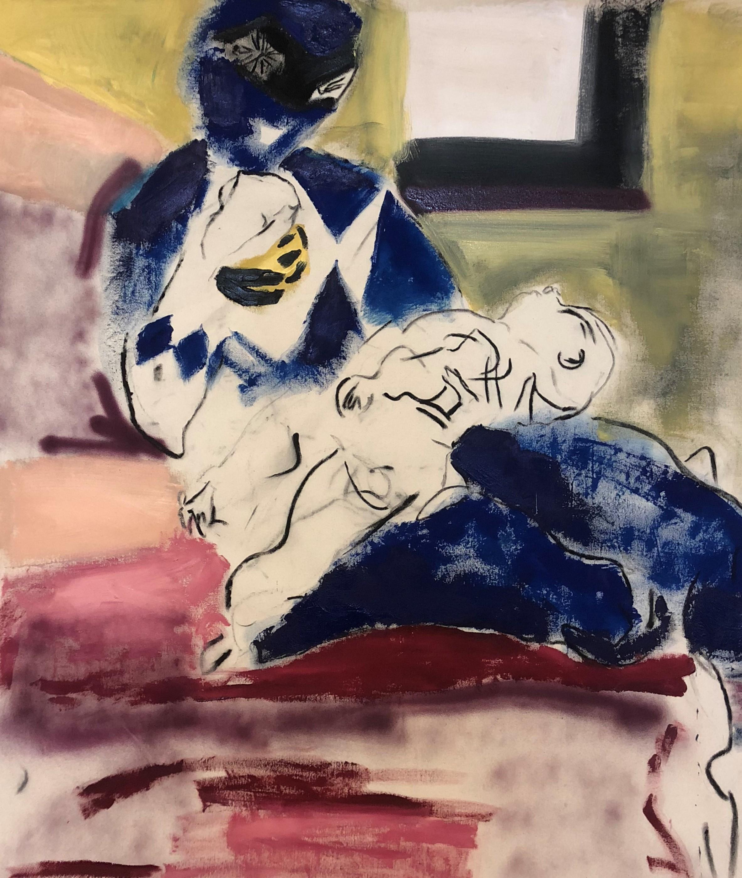 "Blue Ranger, acrylic, flashe, and spraypaint on canvas, 46""x50"", 2018"
